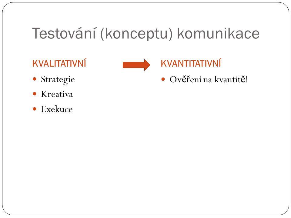 Testování (konceptu) komunikace KVALITATIVNÍKVANTITATIVNÍ Strategie Kreativa Exekuce Ověření na kvantitě!