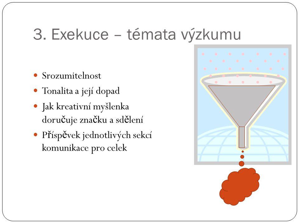 3. Exekuce – témata výzkumu Srozumitelnost Tonalita a její dopad Jak kreativní myšlenka doru č uje zna č ku a sd ě lení P ř ísp ě vek jednotlivých sek