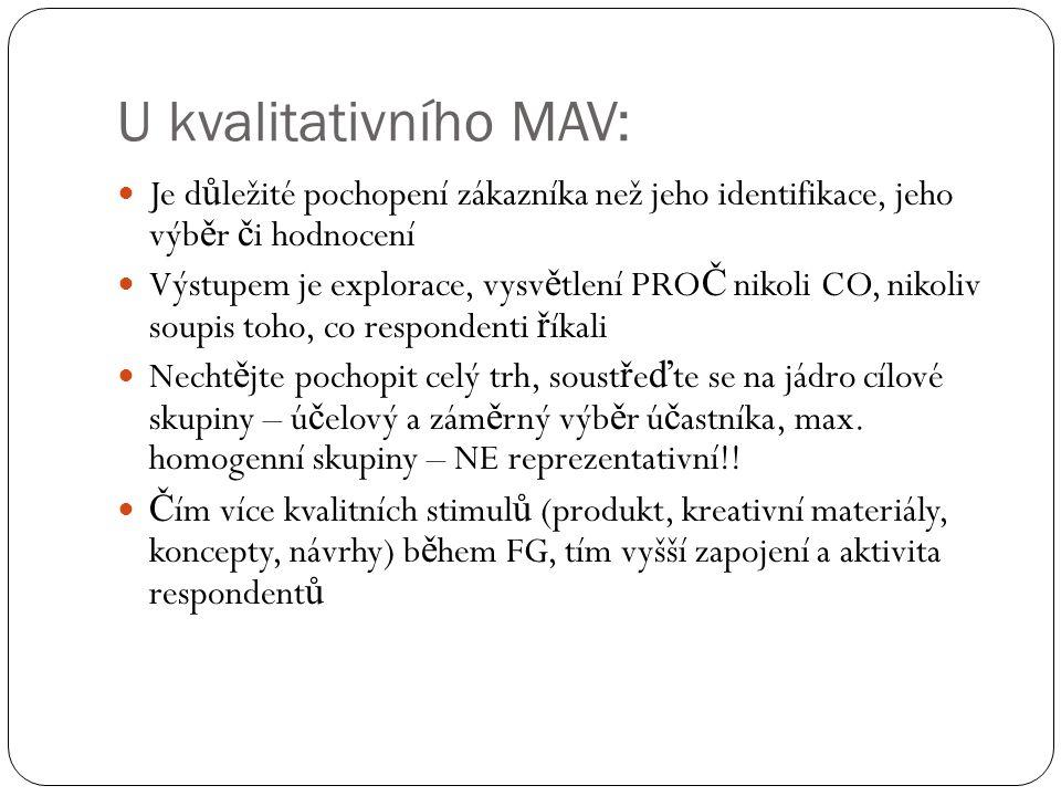 U kvalitativního MAV: Je d ů ležité pochopení zákazníka než jeho identifikace, jeho výb ě r č i hodnocení Výstupem je explorace, vysv ě tlení PRO Č ni