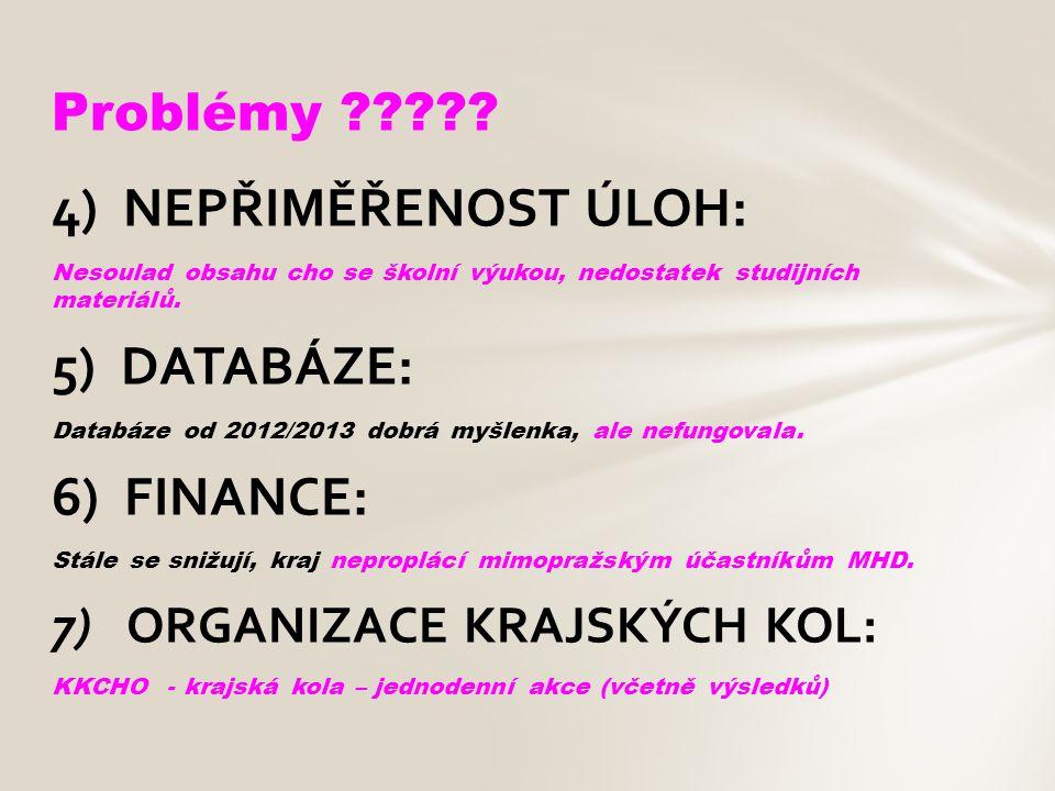 4) NEPŘIMĚŘENOST ÚLOH: Nesoulad obsahu cho se školní výukou, nedostatek studijních materiálů. 5) DATABÁZE: Databáze od 2012/2013 dobrá myšlenka, ale n