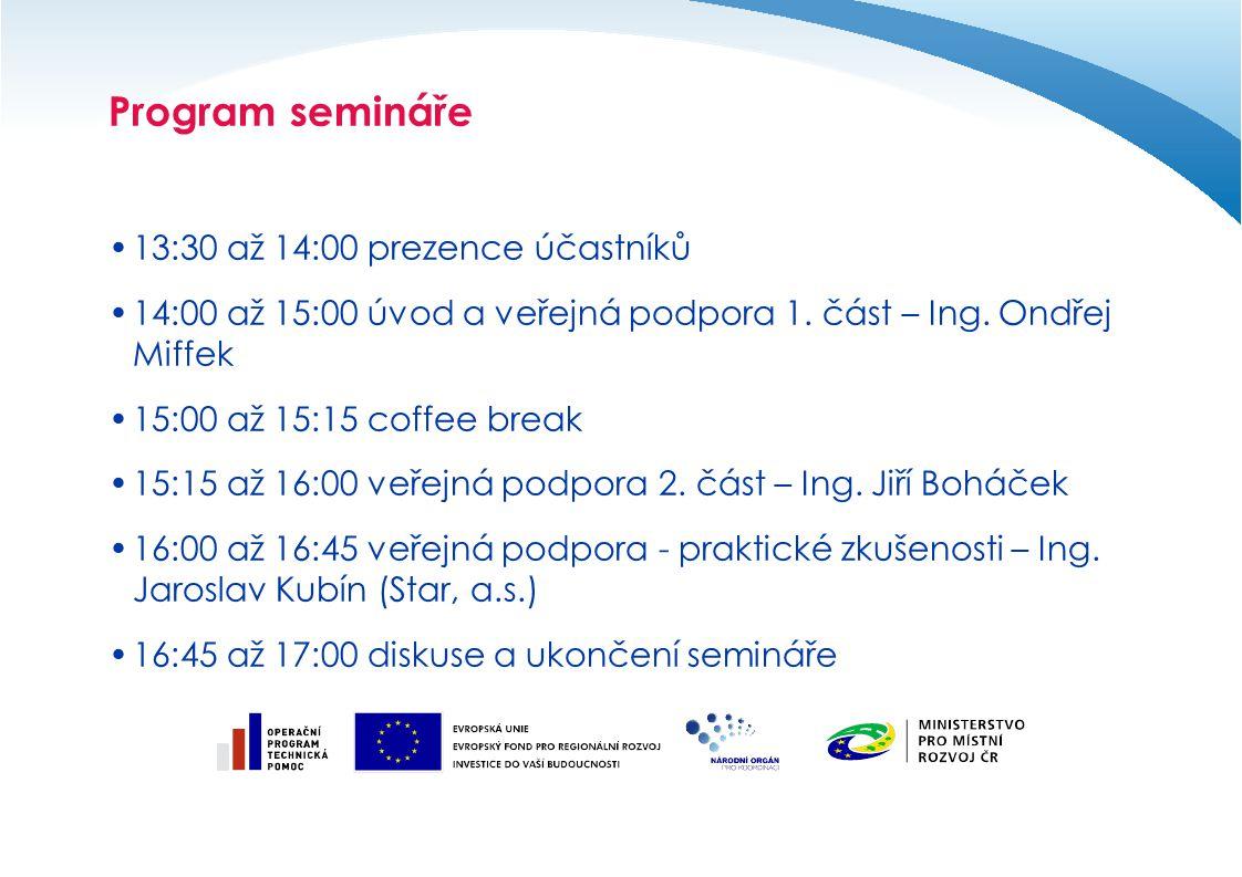 Program semináře 13:30 až 14:00 prezence účastníků 14:00 až 15:00 úvod a veřejná podpora 1. část – Ing. Ondřej Miffek 15:00 až 15:15 coffee break 15:1