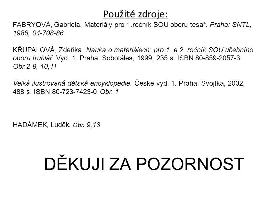 DĚKUJI ZA POZORNOST Použité zdroje: FABRYOVÁ, Gabriela. Materiály pro 1.ročník SOU oboru tesař. Praha: SNTL, 1986, 04-708-86 KŘUPALOVÁ, Zdeňka. Nauka