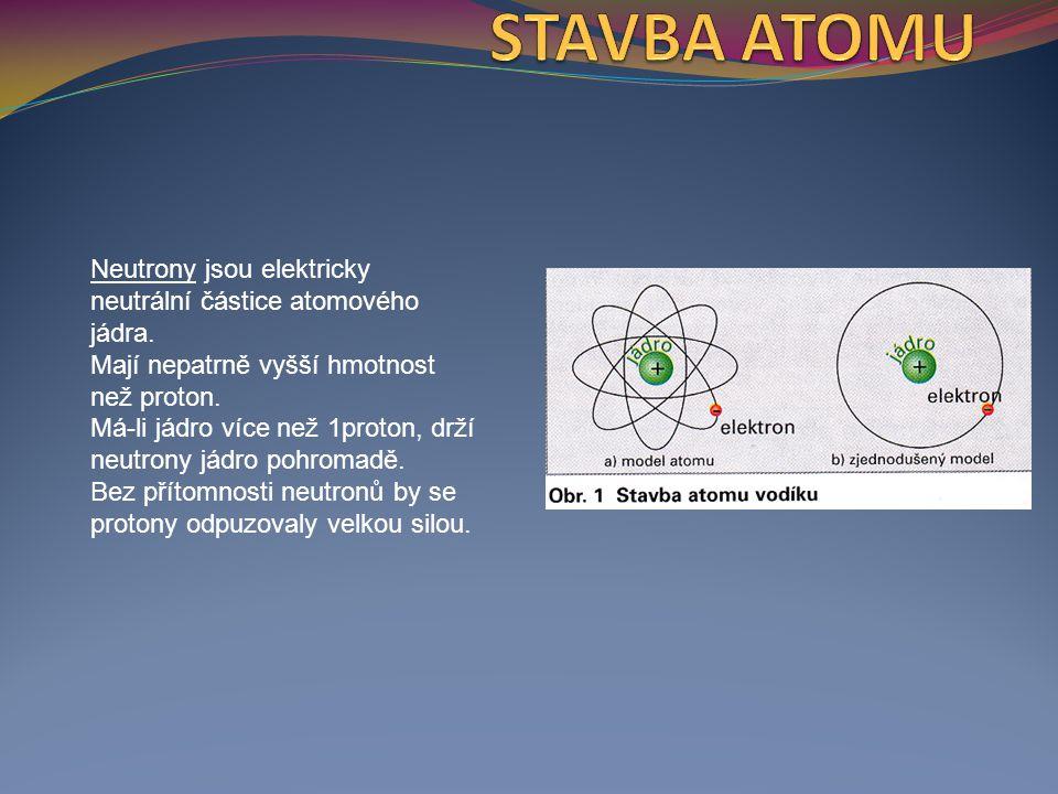 Elektrony jsou záporně nabité elementární částice obalu atomu.