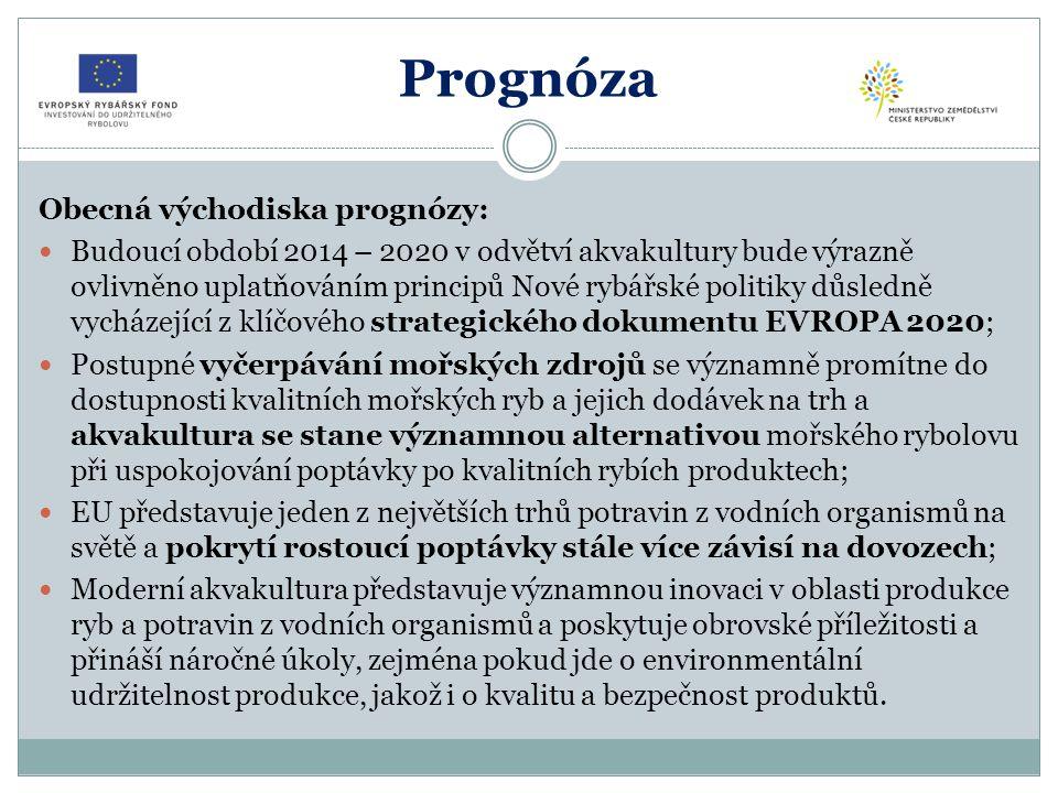 Prognóza Obecná východiska prognózy: Budoucí období 2014 – 2020 v odvětví akvakultury bude výrazně ovlivněno uplatňováním principů Nové rybářské politiky důsledně vycházející z klíčového strategického dokumentu EVROPA 2020; Postupné vyčerpávání mořských zdrojů se významně promítne do dostupnosti kvalitních mořských ryb a jejich dodávek na trh a akvakultura se stane významnou alternativou mořského rybolovu při uspokojování poptávky po kvalitních rybích produktech; EU představuje jeden z největších trhů potravin z vodních organismů na světě a pokrytí rostoucí poptávky stále více závisí na dovozech; Moderní akvakultura představuje významnou inovaci v oblasti produkce ryb a potravin z vodních organismů a poskytuje obrovské příležitosti a přináší náročné úkoly, zejména pokud jde o environmentální udržitelnost produkce, jakož i o kvalitu a bezpečnost produktů.