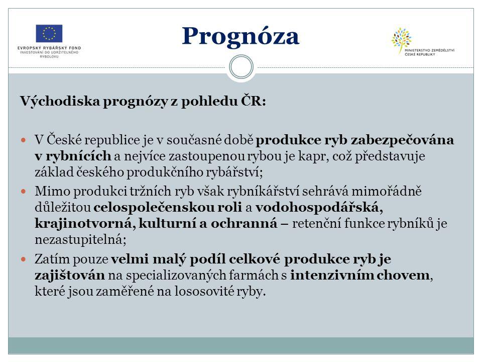 Prognóza Východiska prognózy z pohledu ČR: V České republice je v současné době produkce ryb zabezpečována v rybnících a nejvíce zastoupenou rybou je kapr, což představuje základ českého produkčního rybářství; Mimo produkci tržních ryb však rybníkářství sehrává mimořádně důležitou celospolečenskou roli a vodohospodářská, krajinotvorná, kulturní a ochranná – retenční funkce rybníků je nezastupitelná; Zatím pouze velmi malý podíl celkové produkce ryb je zajištován na specializovaných farmách s intenzivním chovem, které jsou zaměřené na lososovité ryby.