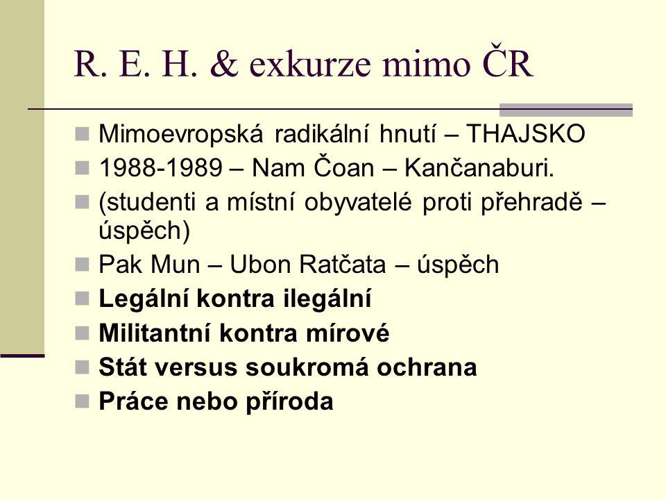 R. E. H. & exkurze mimo ČR Mimoevropská radikální hnutí – THAJSKO 1988-1989 – Nam Čoan – Kančanaburi. (studenti a místní obyvatelé proti přehradě – ús