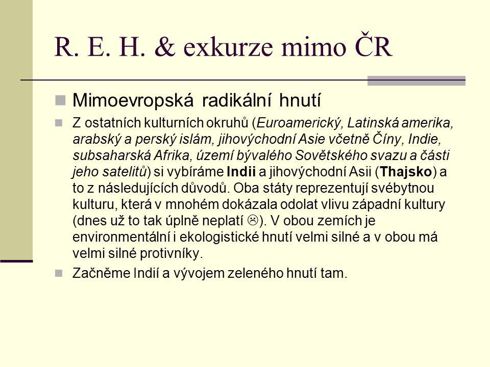 R. E. H. & exkurze mimo ČR Mimoevropská radikální hnutí Z ostatních kulturních okruhů (Euroamerický, Latinská amerika, arabský a perský islám, jihovýc
