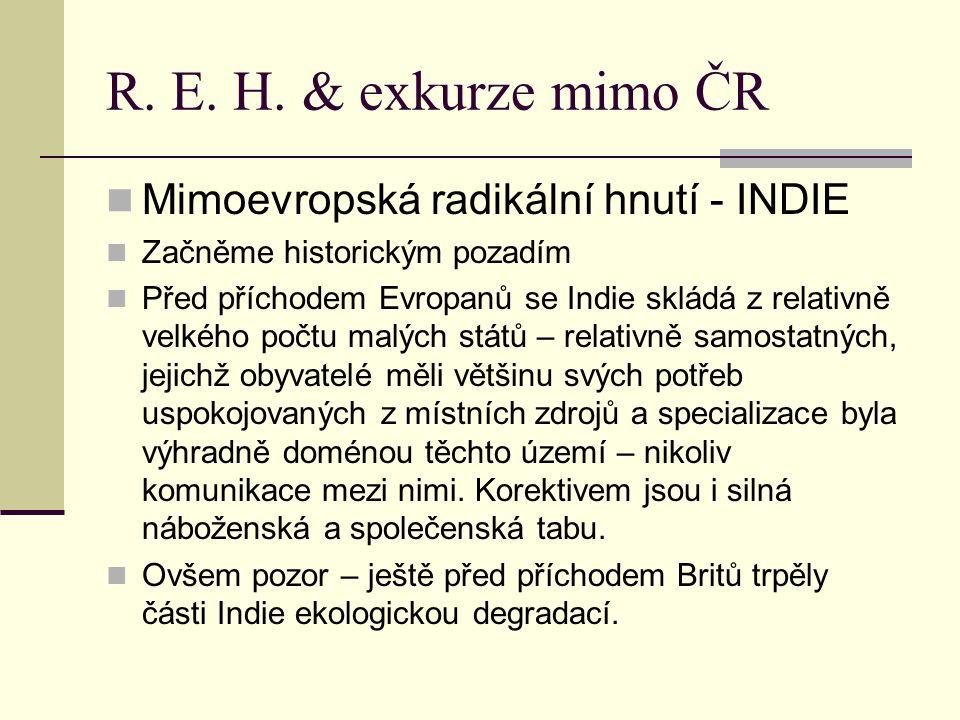 R. E. H. & exkurze mimo ČR Mimoevropská radikální hnutí - INDIE Začněme historickým pozadím Před příchodem Evropanů se Indie skládá z relativně velkéh