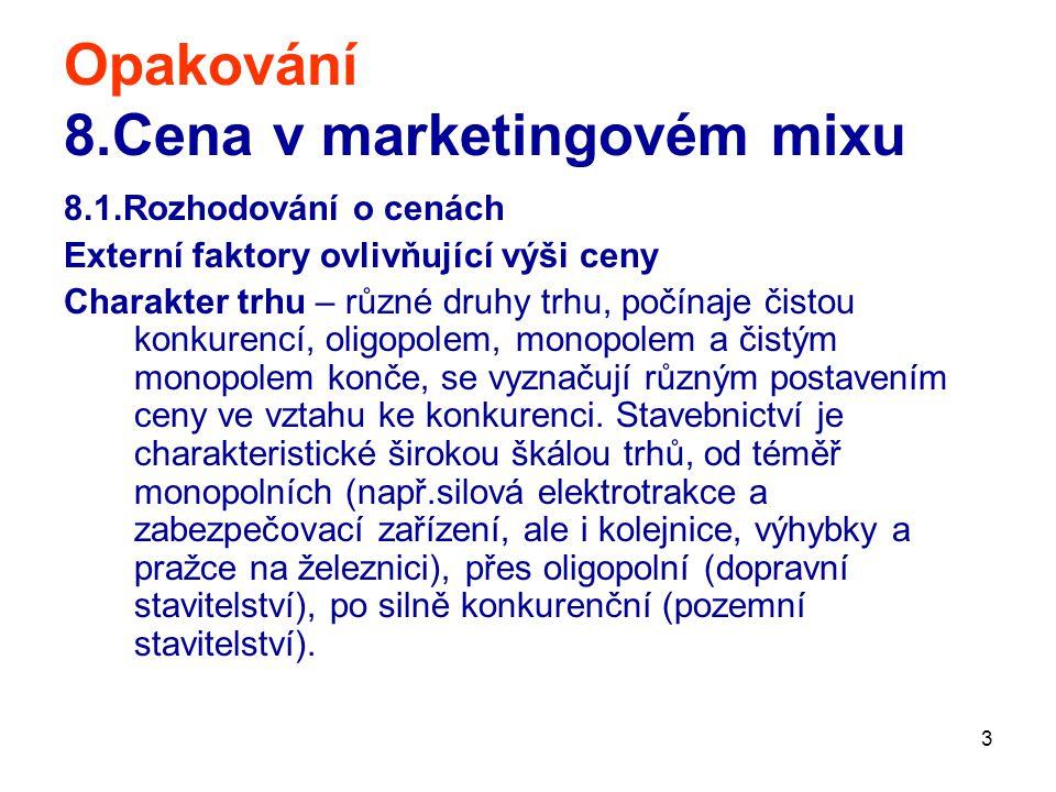 3 Opakování 8.Cena v marketingovém mixu 8.1.Rozhodování o cenách Externí faktory ovlivňující výši ceny Charakter trhu – různé druhy trhu, počínaje čis