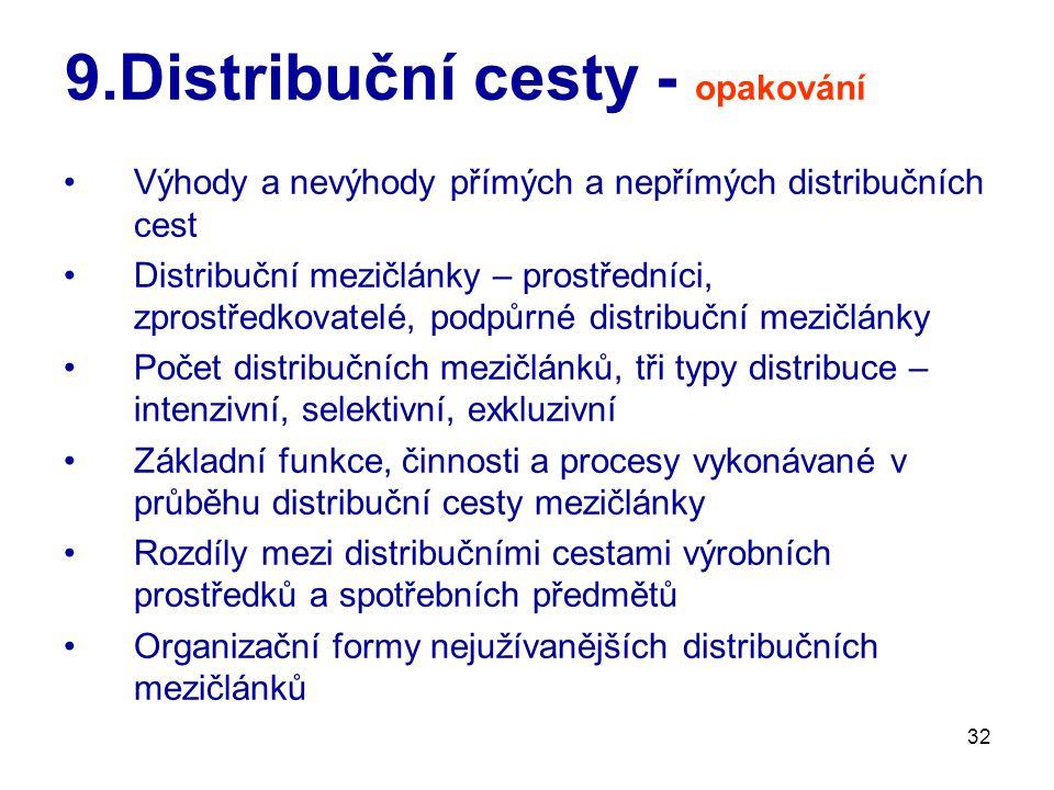 32 9.Distribuční cesty - opakování Výhody a nevýhody přímých a nepřímých distribučních cest Distribuční mezičlánky – prostředníci, zprostředkovatelé, podpůrné distribuční mezičlánky Počet distribučních mezičlánků, tři typy distribuce – intenzivní, selektivní, exkluzivní Základní funkce, činnosti a procesy vykonávané v průběhu distribuční cesty mezičlánky Rozdíly mezi distribučními cestami výrobních prostředků a spotřebních předmětů Organizační formy nejužívanějších distribučních mezičlánků