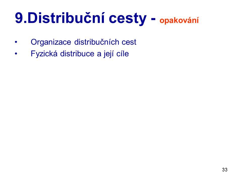 33 9.Distribuční cesty - opakování Organizace distribučních cest Fyzická distribuce a její cíle