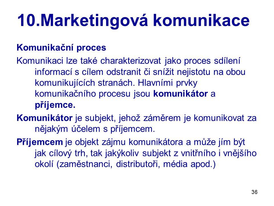 36 10.Marketingová komunikace Komunikační proces Komunikaci lze také charakterizovat jako proces sdílení informací s cílem odstranit či snížit nejistotu na obou komunikujících stranách.