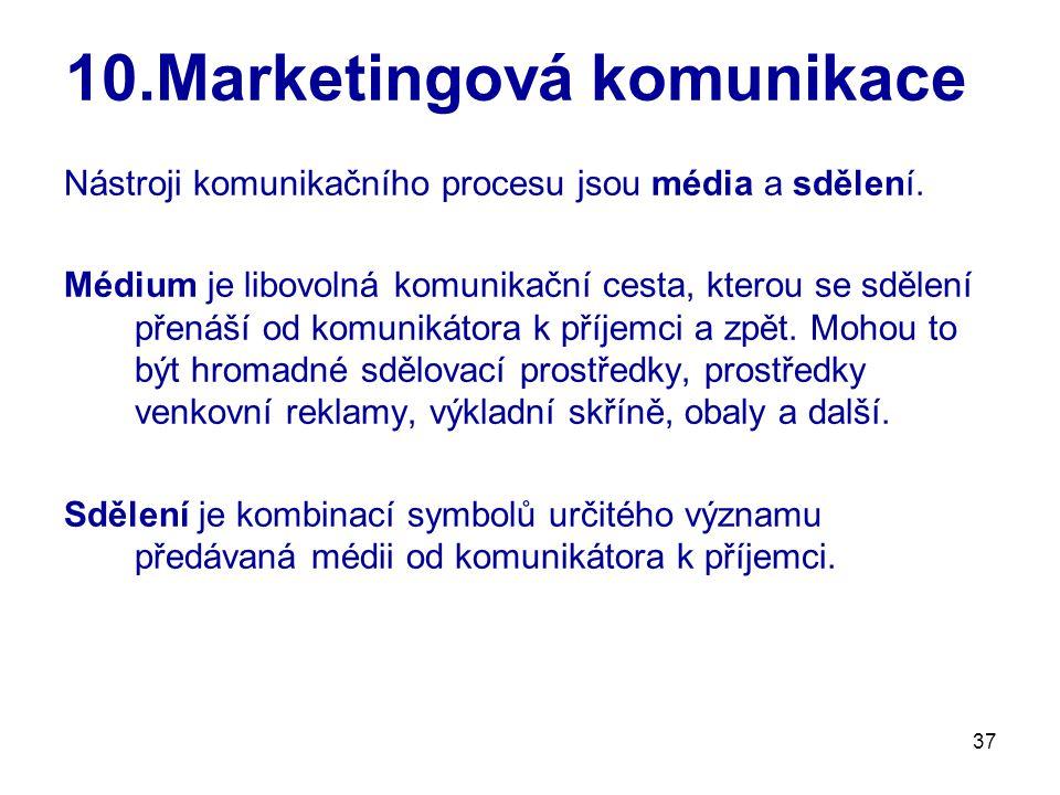 37 10.Marketingová komunikace Nástroji komunikačního procesu jsou média a sdělení. Médium je libovolná komunikační cesta, kterou se sdělení přenáší od