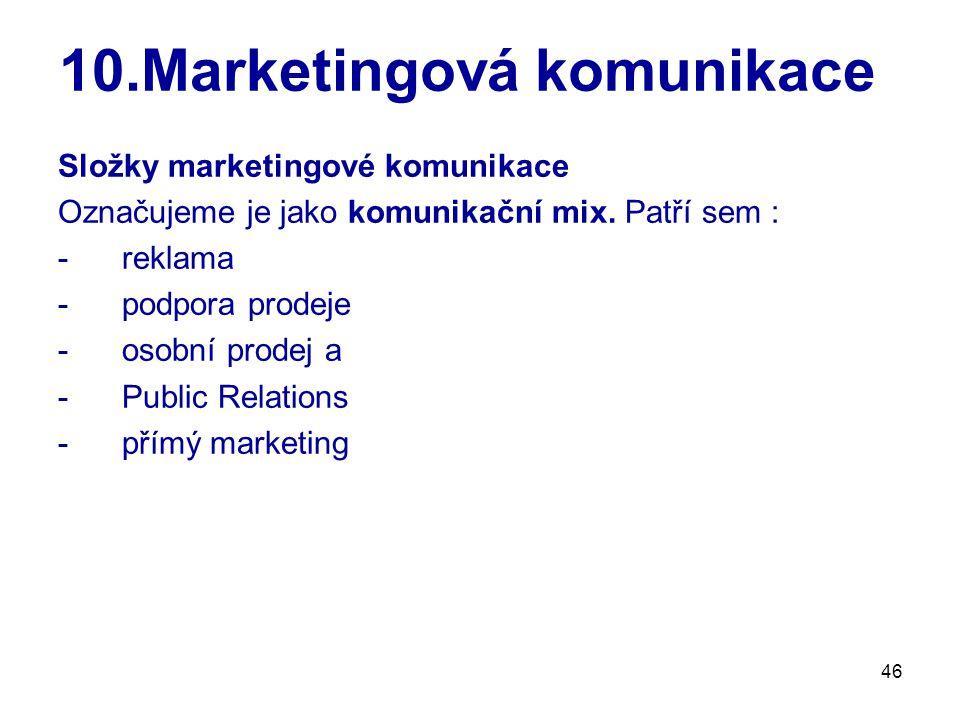 46 10.Marketingová komunikace Složky marketingové komunikace Označujeme je jako komunikační mix. Patří sem : -reklama -podpora prodeje -osobní prodej