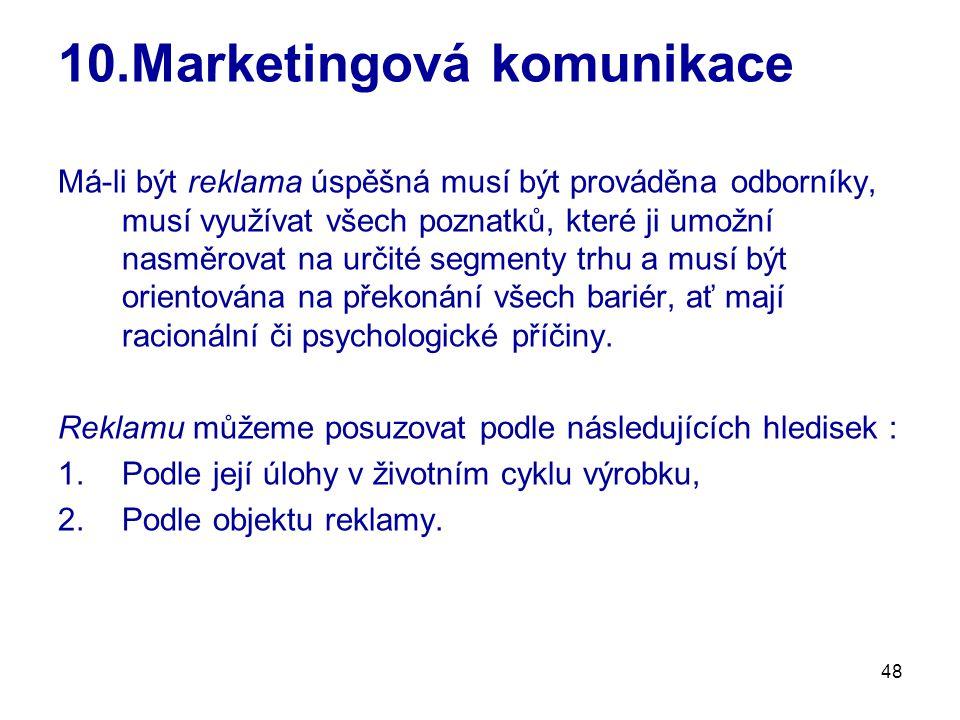 48 10.Marketingová komunikace Má-li být reklama úspěšná musí být prováděna odborníky, musí využívat všech poznatků, které ji umožní nasměrovat na urči