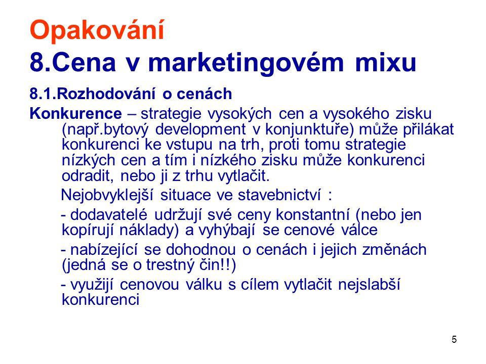 5 Opakování 8.Cena v marketingovém mixu 8.1.Rozhodování o cenách Konkurence – strategie vysokých cen a vysokého zisku (např.bytový development v konju