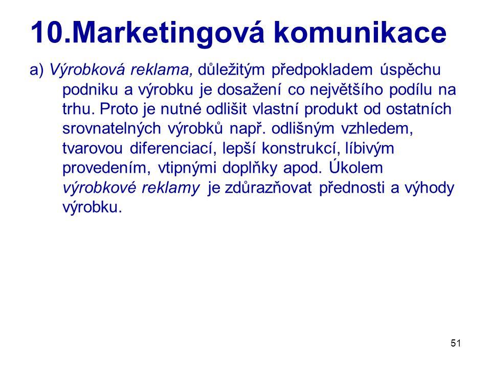 51 10.Marketingová komunikace a) Výrobková reklama, důležitým předpokladem úspěchu podniku a výrobku je dosažení co největšího podílu na trhu.