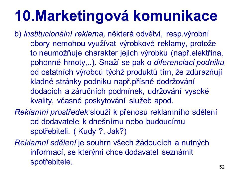 52 10.Marketingová komunikace b) Institucionální reklama, některá odvětví, resp.výrobní obory nemohou využívat výrobkové reklamy, protože to neumožňuj