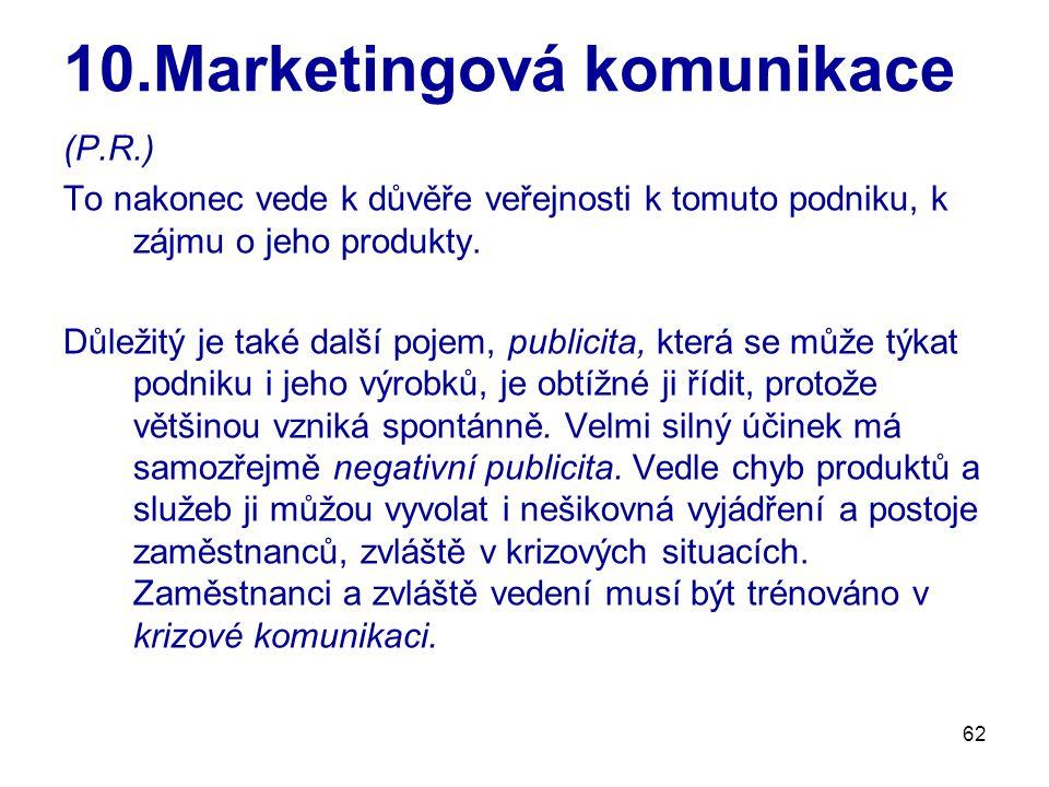 62 10.Marketingová komunikace (P.R.) To nakonec vede k důvěře veřejnosti k tomuto podniku, k zájmu o jeho produkty. Důležitý je také další pojem, publ
