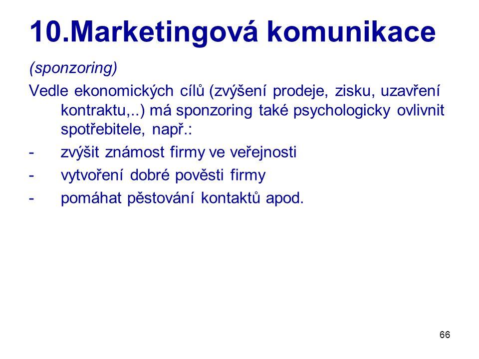 66 10.Marketingová komunikace (sponzoring) Vedle ekonomických cílů (zvýšení prodeje, zisku, uzavření kontraktu,..) má sponzoring také psychologicky ovlivnit spotřebitele, např.: -zvýšit známost firmy ve veřejnosti -vytvoření dobré pověsti firmy -pomáhat pěstování kontaktů apod.