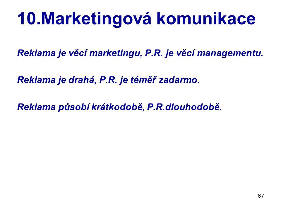 67 10.Marketingová komunikace Reklama je věcí marketingu, P.R. je věcí managementu. Reklama je drahá, P.R. je téměř zadarmo. Reklama působí krátkodobě