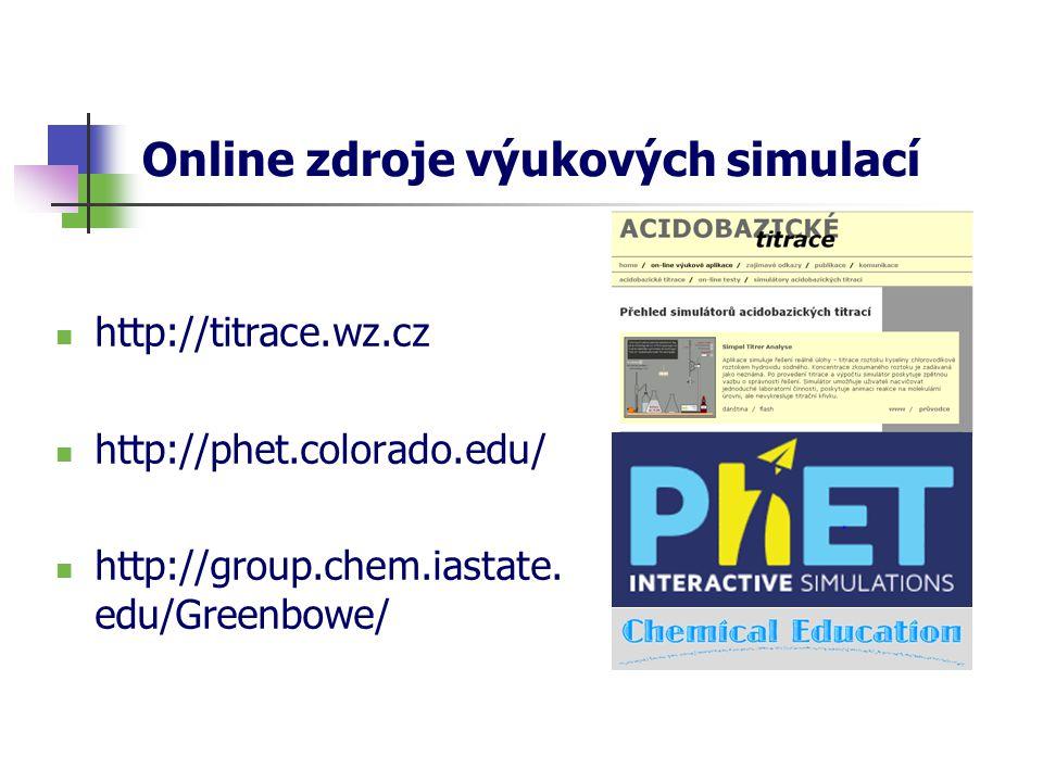 Online zdroje výukových simulací http://titrace.wz.cz http://phet.colorado.edu/ http://group.chem.iastate. edu/Greenbowe/