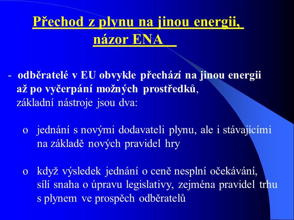 Přechod z plynu na jinou energii, názor ENA - odběratelé v EU obvykle přechází na jinou energii až po vyčerpání možných prostředků, základní nástroje jsou dva: o jednání s novými dodavateli plynu, ale i stávajícími na základě nových pravidel hry o když výsledek jednání o ceně nesplní očekávání, sílí snaha o úpravu legislativy, zejména pravidel trhu s plynem ve prospěch odběratelů