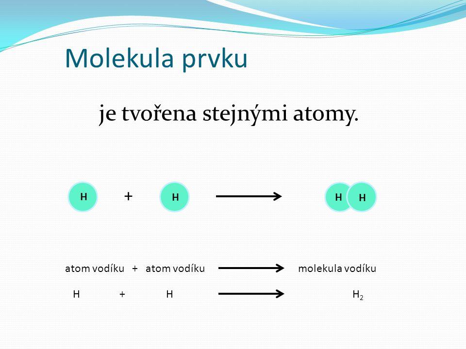 Molekula sloučeniny je tvořena různými atomy.