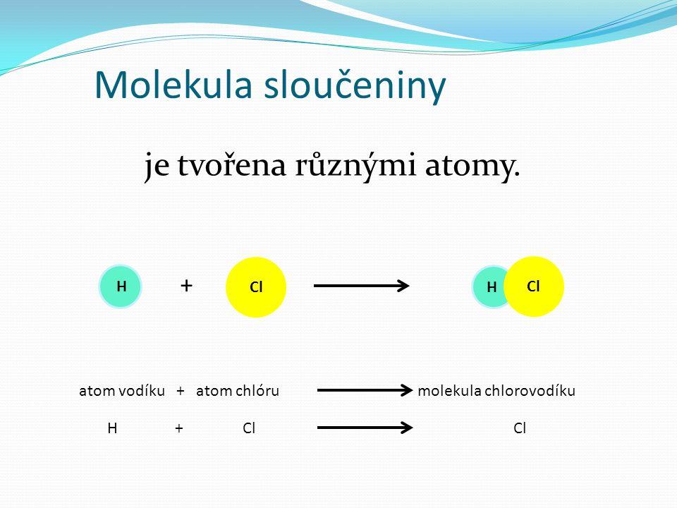 Molekula Molekula je tvořena dvěma nebo více atomy spojenými chemickou vazbou