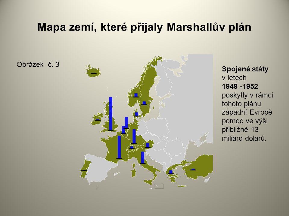 Mapa zemí, které přijaly Marshallův plán Obrázek č.