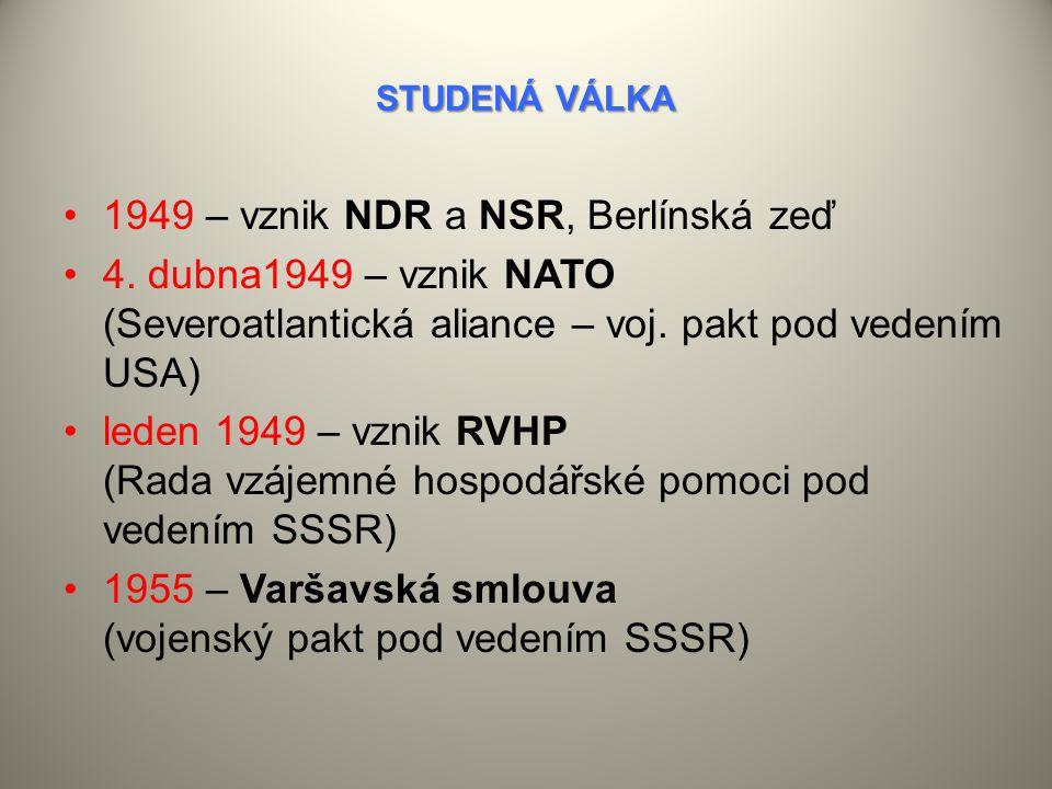 STUDENÁ VÁLKA 1949 – vznik NDR a NSR, Berlínská zeď 4.