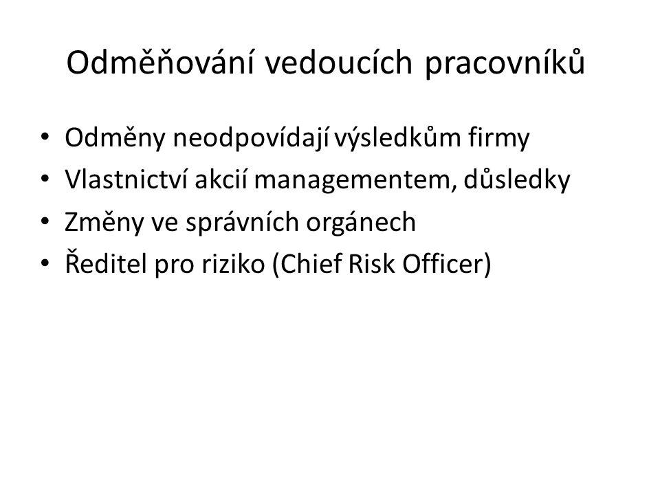 Odměňování vedoucích pracovníků Odměny neodpovídají výsledkům firmy Vlastnictví akcií managementem, důsledky Změny ve správních orgánech Ředitel pro riziko (Chief Risk Officer)