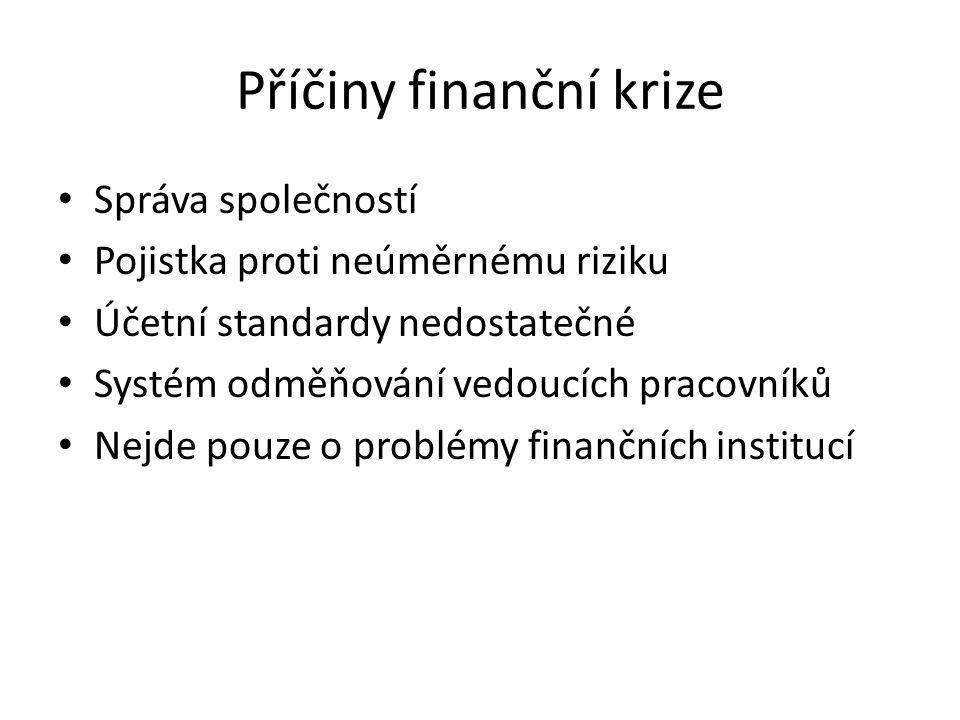 Příčiny finanční krize Správa společností Pojistka proti neúměrnému riziku Účetní standardy nedostatečné Systém odměňování vedoucích pracovníků Nejde pouze o problémy finančních institucí