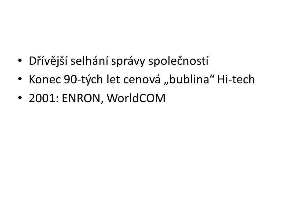 """Dřívější selhání správy společností Konec 90-tých let cenová """"bublina Hi-tech 2001: ENRON, WorldCOM"""