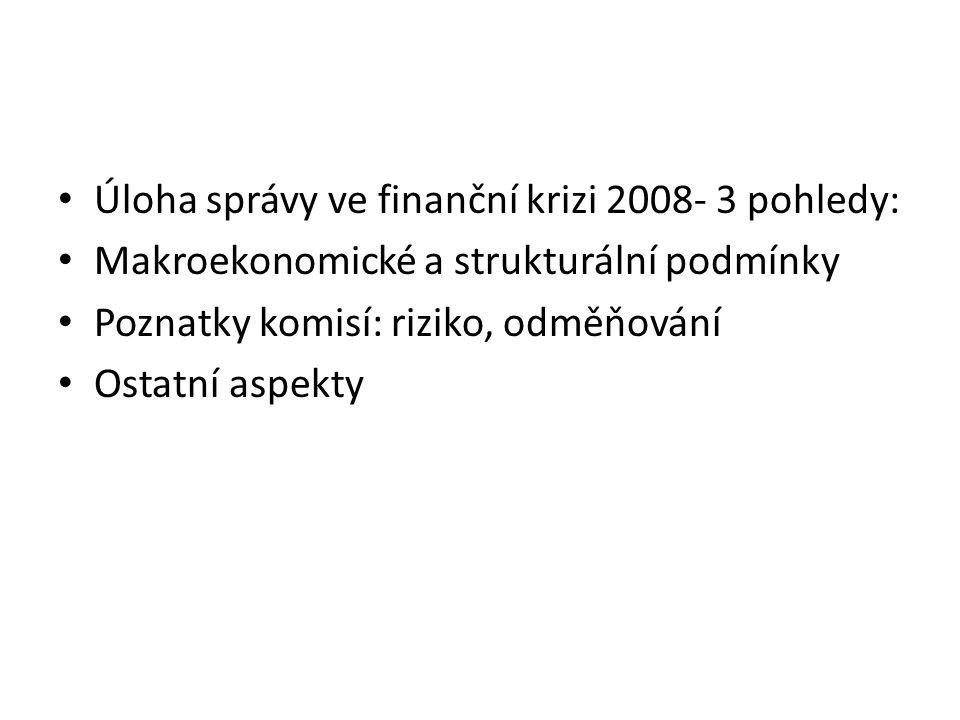 Úloha správy ve finanční krizi 2008- 3 pohledy: Makroekonomické a strukturální podmínky Poznatky komisí: riziko, odměňování Ostatní aspekty
