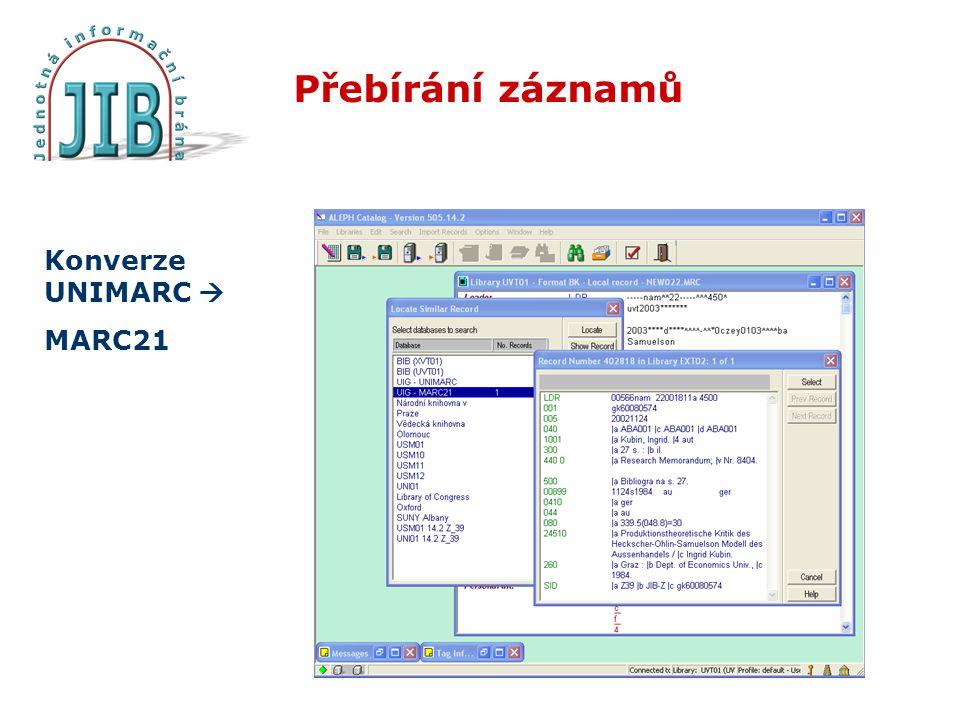 Přebírání záznamů Konverze UNIMARC  MARC21