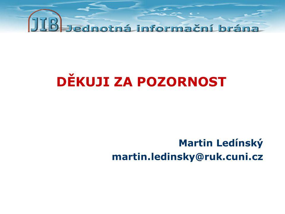 DĚKUJI ZA POZORNOST Martin Ledínský martin.ledinsky@ruk.cuni.cz