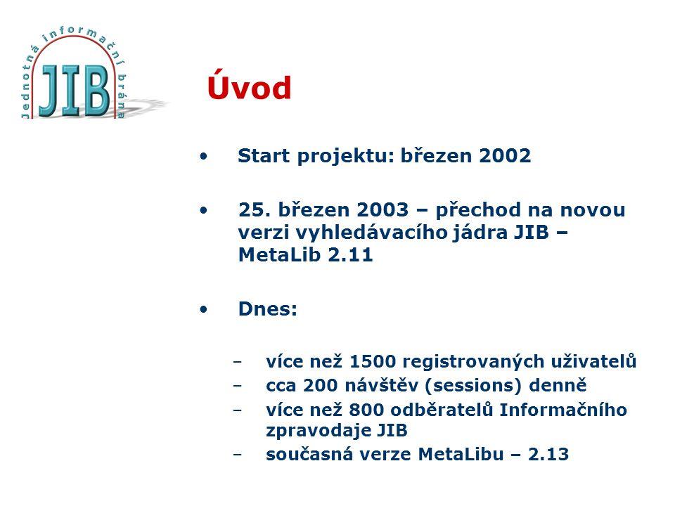Úvod Start projektu: březen 2002 25. březen 2003 – přechod na novou verzi vyhledávacího jádra JIB – MetaLib 2.11 Dnes: –více než 1500 registrovaných u