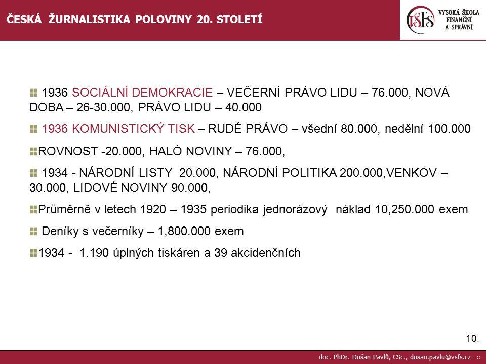11.doc. PhDr. Dušan Pavlů, CSc., dusan.pavlu@vsfs.cz :: ČESKÁ ŽURNALISTIKA POLOVINY 20.
