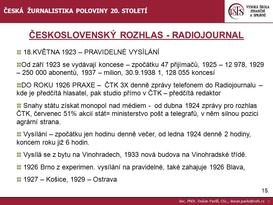 16.doc. PhDr. Dušan Pavlů, CSc., dusan.pavlu@vsfs.cz :: ČESKÁ ŽURNALISTIKA POLOVINY 20.