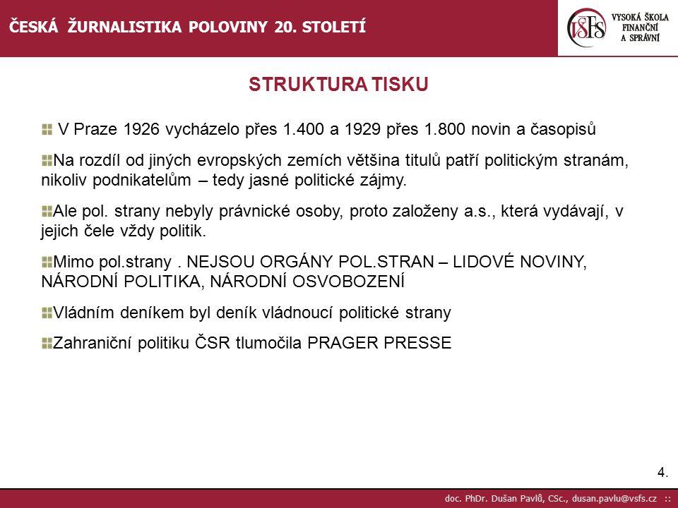 5.5.doc. PhDr. Dušan Pavlů, CSc., dusan.pavlu@vsfs.cz :: ČESKÁ ŽURNALISTIKA POLOVINY 20.
