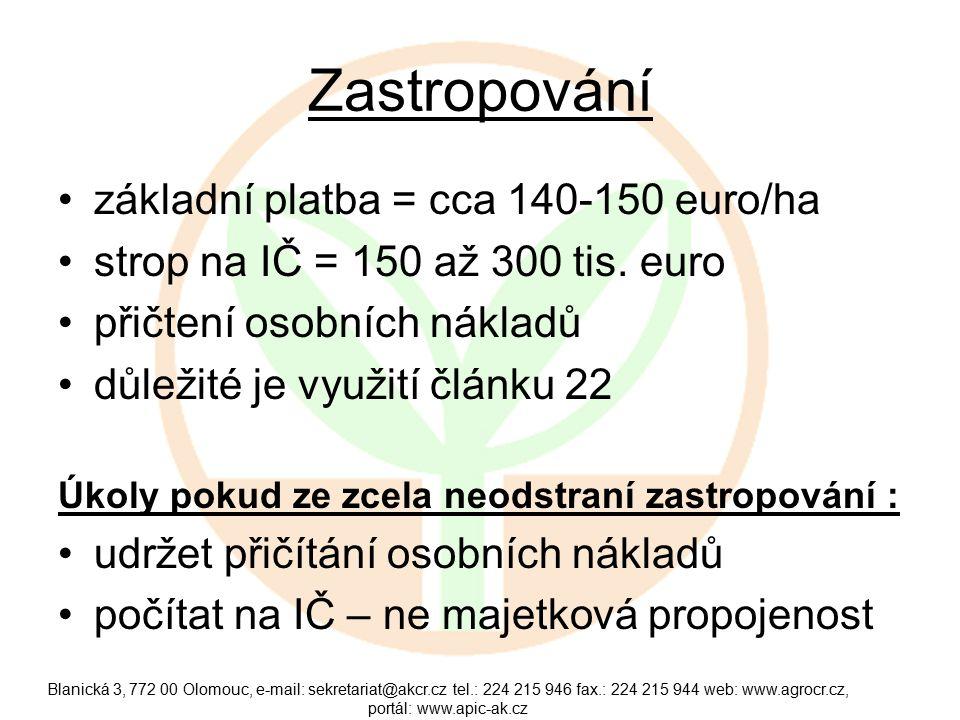 Zastropování základní platba = cca 140-150 euro/ha strop na IČ = 150 až 300 tis.