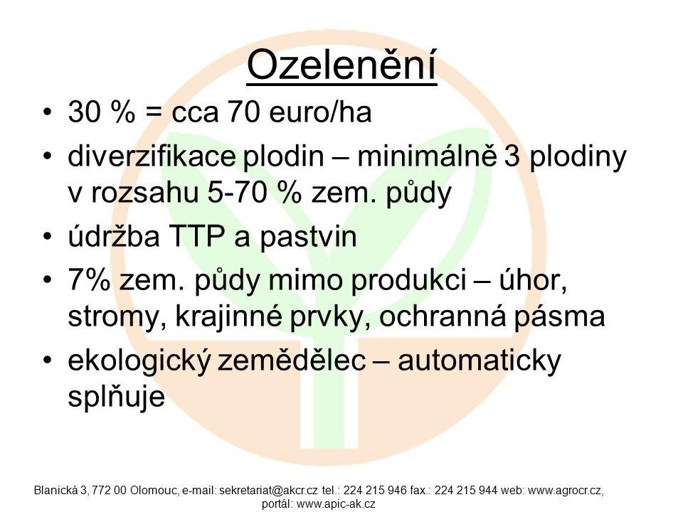 Ozelenění 30 % = cca 70 euro/ha diverzifikace plodin – minimálně 3 plodiny v rozsahu 5-70 % zem.