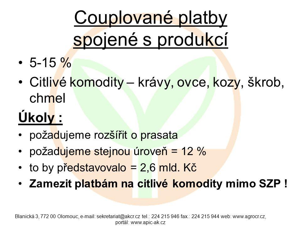 Couplované platby spojené s produkcí 5-15 % Citlivé komodity – krávy, ovce, kozy, škrob, chmel Úkoly : požadujeme rozšířit o prasata požadujeme stejnou úroveň = 12 % to by představovalo = 2,6 mld.