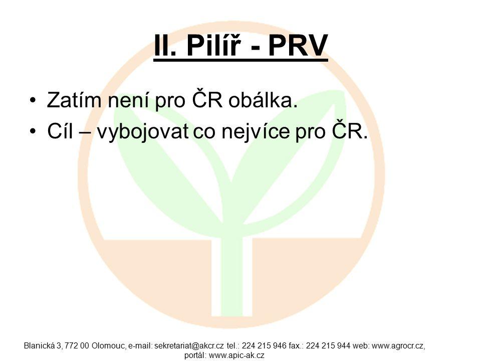 II. Pilíř - PRV Zatím není pro ČR obálka. Cíl – vybojovat co nejvíce pro ČR.
