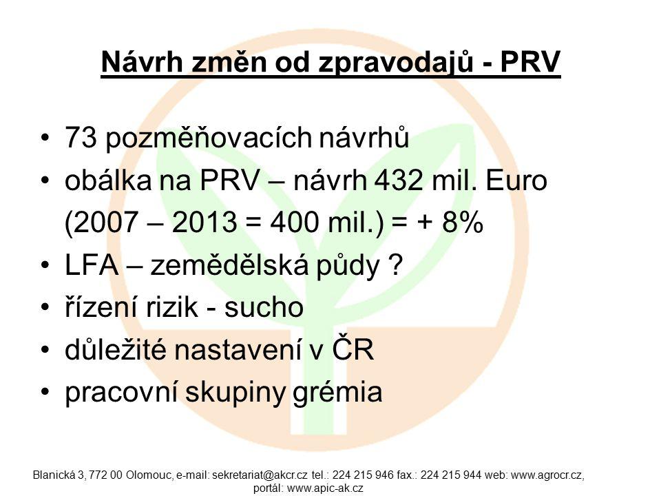 Návrh změn od zpravodajů - PRV 73 pozměňovacích návrhů obálka na PRV – návrh 432 mil.