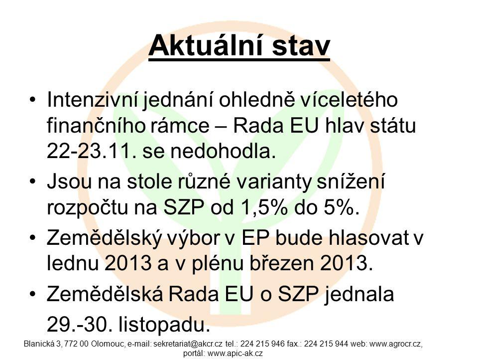 Aktuální stav Intenzivní jednání ohledně víceletého finančního rámce – Rada EU hlav státu 22-23.11.