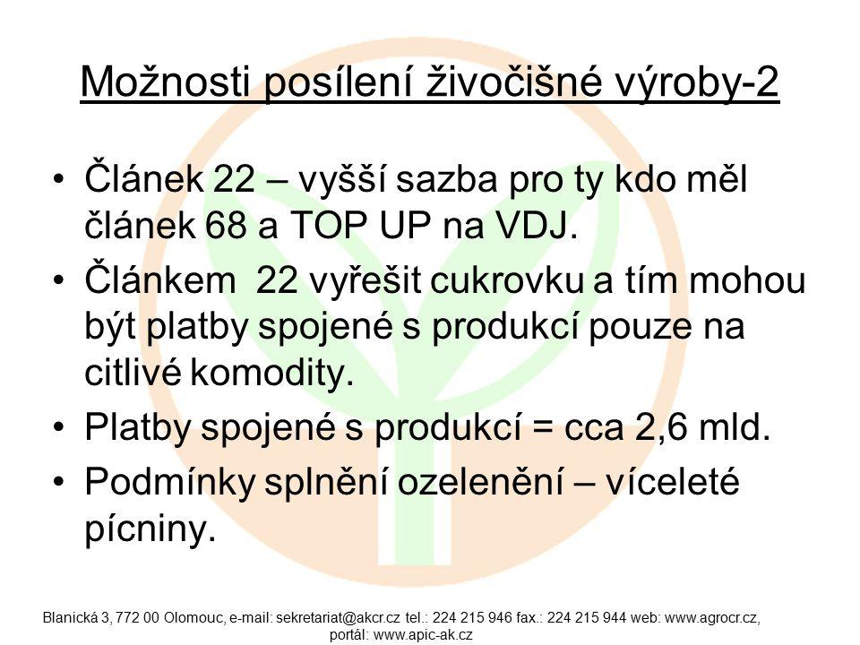 Možnosti posílení živočišné výroby-2 Článek 22 – vyšší sazba pro ty kdo měl článek 68 a TOP UP na VDJ.