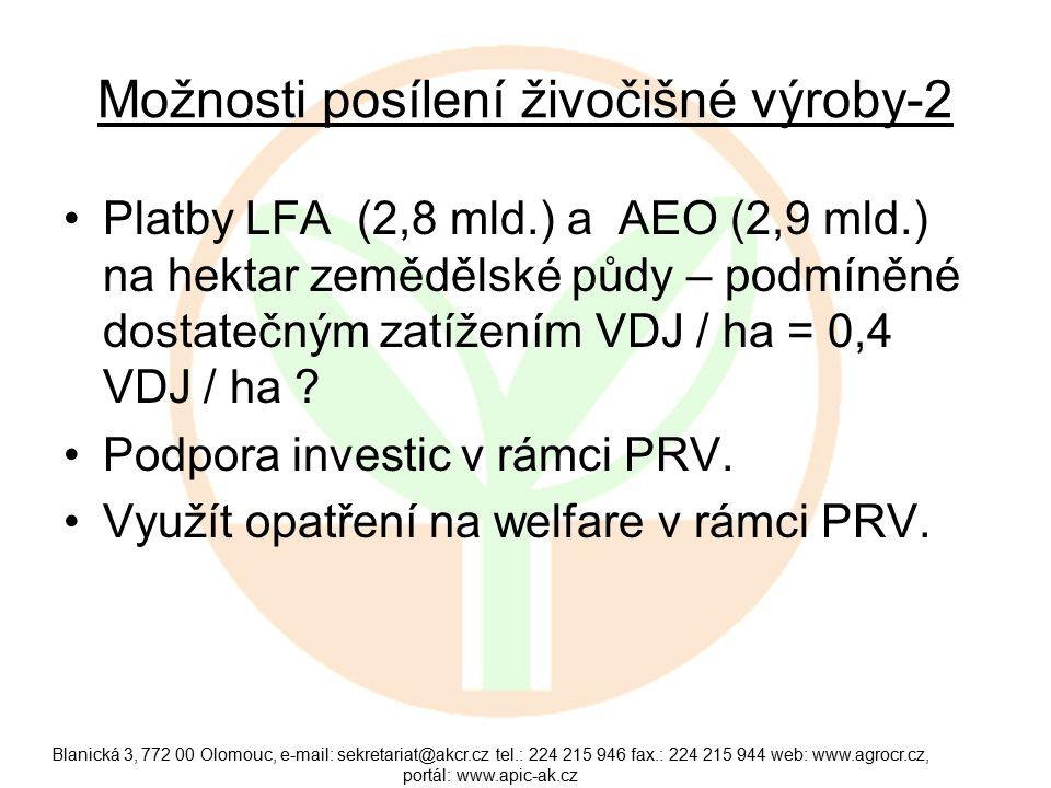 Možnosti posílení živočišné výroby-2 Platby LFA (2,8 mld.) a AEO (2,9 mld.) na hektar zemědělské půdy – podmíněné dostatečným zatížením VDJ / ha = 0,4 VDJ / ha .