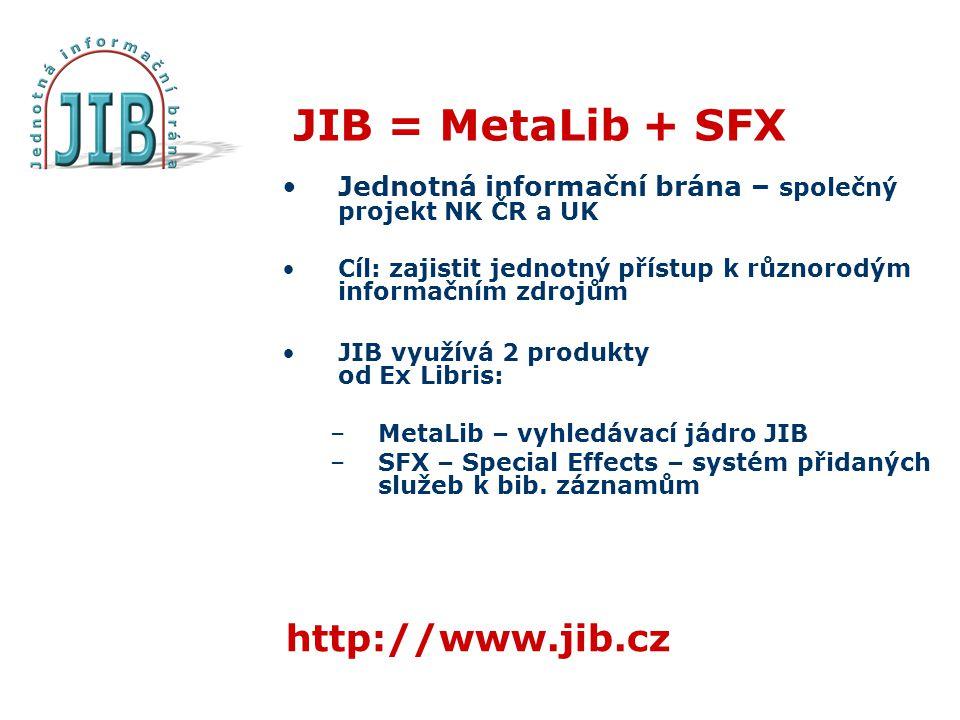 JIB = MetaLib + SFX Jednotná informační brána – společný projekt NK ČR a UK Cíl: zajistit jednotný přístup k různorodým informačním zdrojům JIB využívá 2 produkty od Ex Libris: –MetaLib – vyhledávací jádro JIB –SFX – Special Effects – systém přidaných služeb k bib.